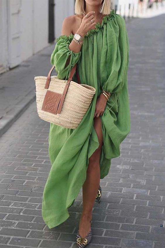 Ideas How To Wear A Straw Bag